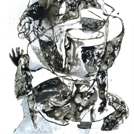 "The Fleeting Moments of Kings (2013), india ink on vellum, 34""x40"""