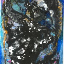 "Portrait in Blue (2013), mixed media on paper, 12""x18"""