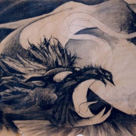 "Mythical Lion (Four Powers Series) (2000), charcoal on paper, 34""x24"""