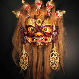 """Dagiraza, acrylic on paper maché, hand beaded ornaments, horsehair, 14""""x16""""x4"""""""