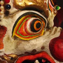 "Sendom - detail, acrylic on paper maché, hand beaded ornaments, horsehair, 14""x16""x9"""