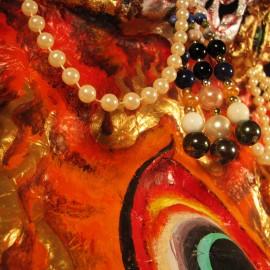 "Dagdom - detail, acrylic on paper maché, hand beaded ornaments, horsehair, 31""x35""x12"""