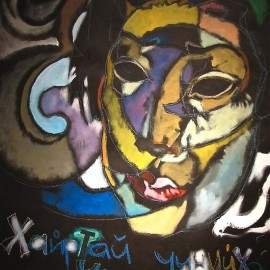 """Before your Beloved Eyes (2008), acrylic and oil pastel on paper, 36""""x48"""""""