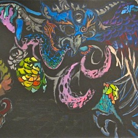 Once Upon a Time (2008) acrylic on paper, 15ftx6ft
