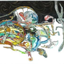 "The Birth of Ameba (2012), acrylic on vellum, 36""x40"""