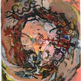 """Mandala (2012), acrylic and indian ink on vellum, 36""""x40"""""""