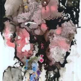 "The Night Wisher (2012), mixed media on vellum, 18""x24"""