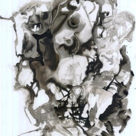 """The Morning Wisher (2012), indian ink on vellum, 18""""x24"""""""