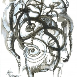 "Spiral (2012), indian ink on paper, 18.5""x24"""