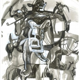"Lord of home (2012), indian ink on paper, 18.5""x24"""