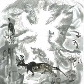 "The Ferocious Guardian (2012), indian ink on paper, 18.5""x24"""