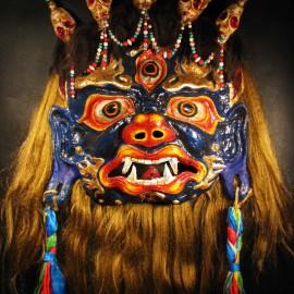 """Mahakala, acrylic on paper maché, hand beaded ornaments, horsehair, khadag (various colored silk) 35""""x39""""x9"""""""