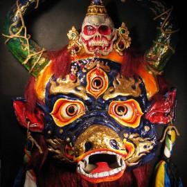 "Yama, acrylic on paper maché, hand beaded ornaments, horsehair, 31""x39""x12"""
