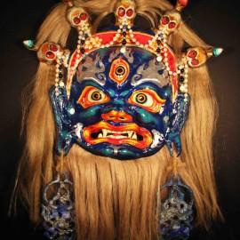"""Mahakala (blue), acrylic on paper maché, hand beaded ornaments, horsehair, 14""""x16""""x4"""""""