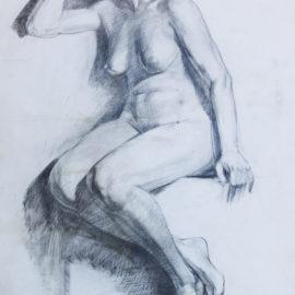 "Figure Study (1988), graphite on paper, 36""x48"""