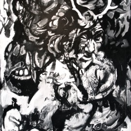 "Shaman's Dieties (2011), acrylic on canvas, 48""x76"""
