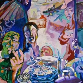 "Welcome (2011), acrylic on canvas, 76""x48"""