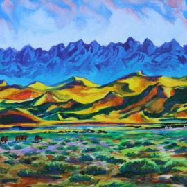 "Khongoryn Els [The Sands of Khongor] (2014), acrylic on canvas, 16""x20"""