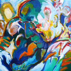 "Still Dreaming (2015), acrylic on vellum, 30""x40"""