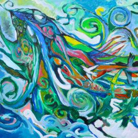 "Voyage of the Dream Birds (2015), acrylic on vellum, 36""x40"""