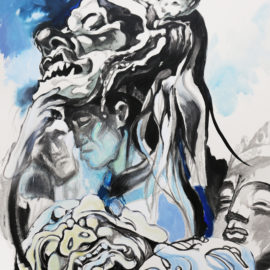 "Masked Dancers (2017), Acrylic on Canvas, 26""x32"""