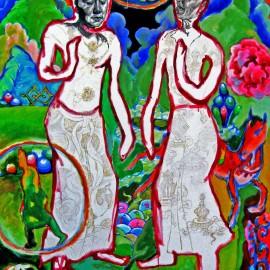 "Meditators (2008), acrylic on canvas, 48""x75"""