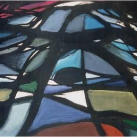 "My Gaze (1993), tempera on paper, 34""x24"""