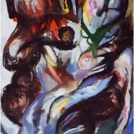 """Adam and Eva (1999), tempera on paper, 34""""x24"""""""