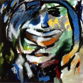 "Happy Girl (2004), acrylic on canvas, 37""x39"""