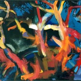 "Homogeneous Beginnings (2002), acrylic on paper, 53""x36"""