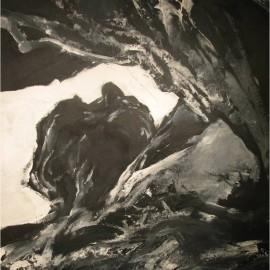 "Sporadic Motion (2007), acrylic on paper, 35""x53"""