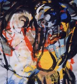 "Portrait (1993), tempera on paper, 40""x28.8"""
