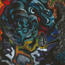 "Mongolian Folktale (2008), acrylic and oil pastel on paper, 48""x75"""