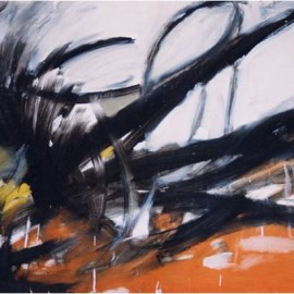 "Toughness (1999), tempera on paper, 34""x24"""