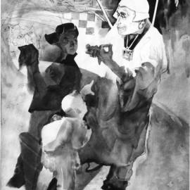 """Gandan (1987), watercolor on paper, 19""""x8"""""""