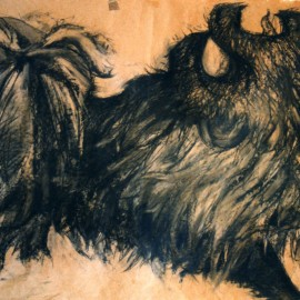 "Mythical Dog (Four Powers Series) (2000), charcoal on paper, 34""x24"""