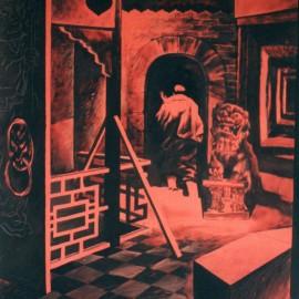"""Secret (1999), watercolor on paper, 40""""x28.8"""""""
