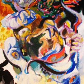 "Pacifier (2008), acrylic on canvas, 48""x75"""