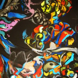 "Mediator (2009), acrylic on paper, 48""x75"""