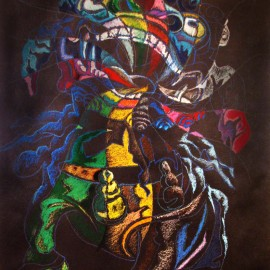 "Deceiving Dog (2008), acrylic and oil pastel paper, 36""x48"""