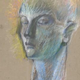 """Portrait (1984), color chalk on paper, 12""""x17"""""""