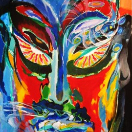 "Divine Existence (2008), acrylic on canvas, 48""x75"""