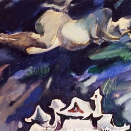 "To Wait (1999), tempera on paper, 34""x24"""