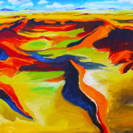 """Yellow Steppe (2016), acrylic on canvas, 24""""x30"""""""