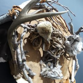 "Vesel Spirits (2018), Wood, Fur, Leather, Sheep Bone, Rope, 32""x30""x14"""