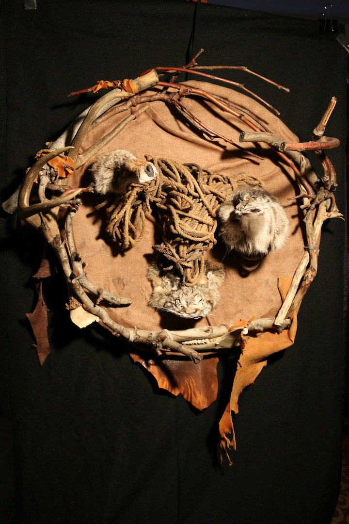"Vesel Spirits (2018), Wood, Fur, Leather, Sheep Bone, Rope, 32""x30""x14"""