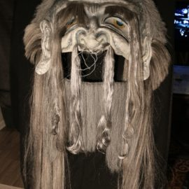 """Lord of Void (2018), Paper Mache, Synthetic hair, Acrylic, 56""""x28""""x7"""""""
