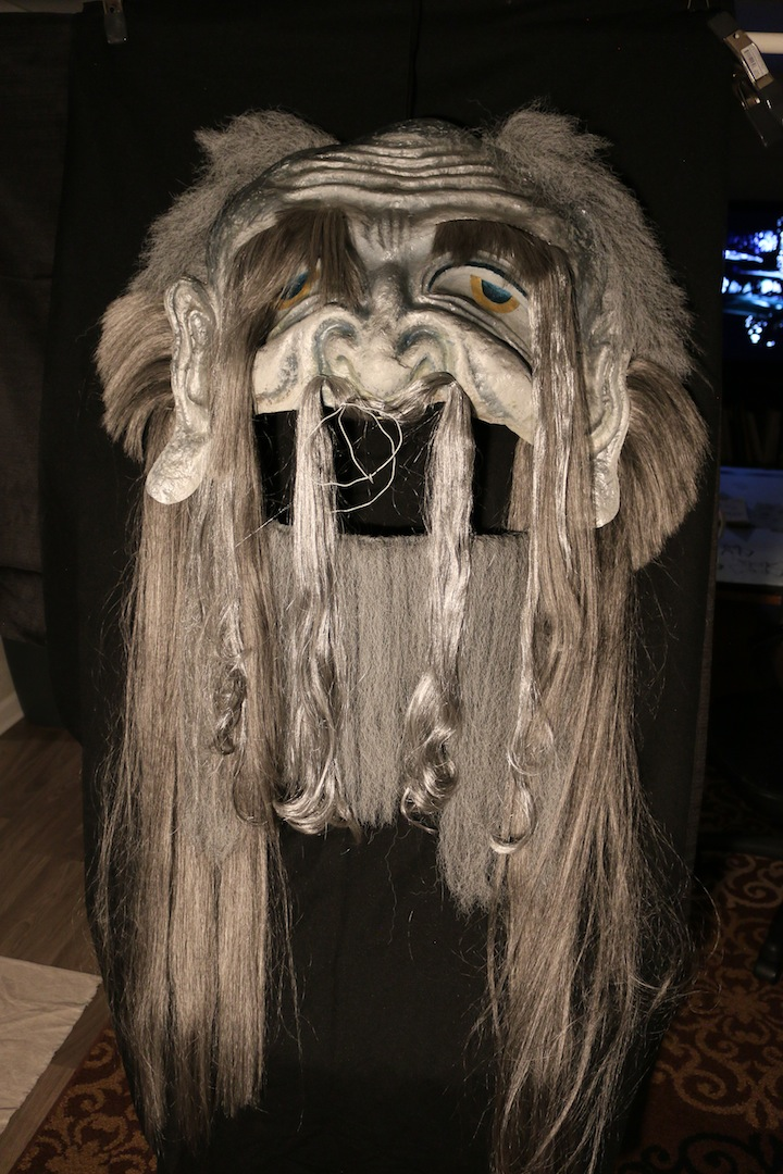 "Lord of Void (2018), Paper Mache, Synthetic hair, Acrylic, 56""x28""x7"""