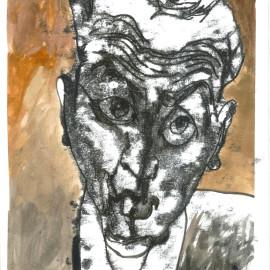 "Self Portrait (2013), mixed media on paper, 12""x18"""