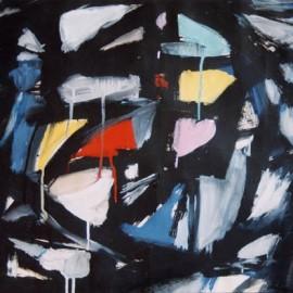 "Ocassion (1999), tempera on paper, 34""x24"""